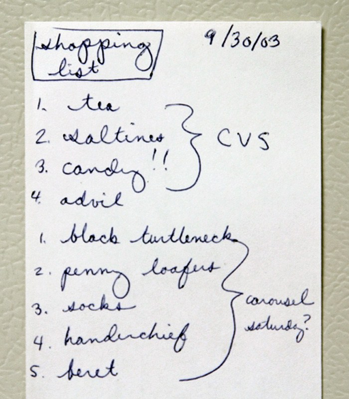 A shopping list written on a 3x5 index card, found in the book The Assyrian and Other Stories by William Saroyan.