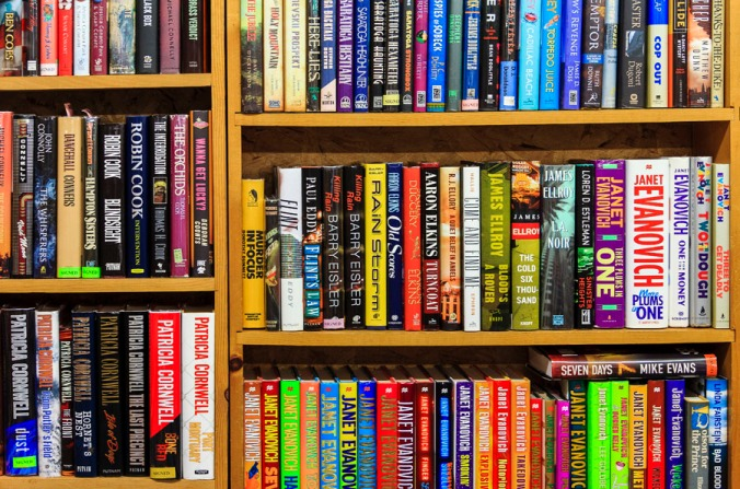 Books line shelves inside Books End bookstore in Syracuse, New York.