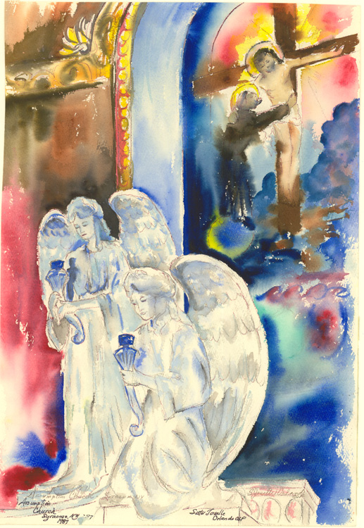 Assumption Church, a watercolor painting by Sister Joselle Orlando.