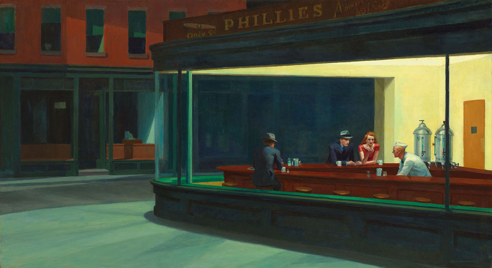 Nighthawks by Edward Hopper, 1942.
