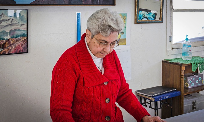 Sister Joselle in her studio.