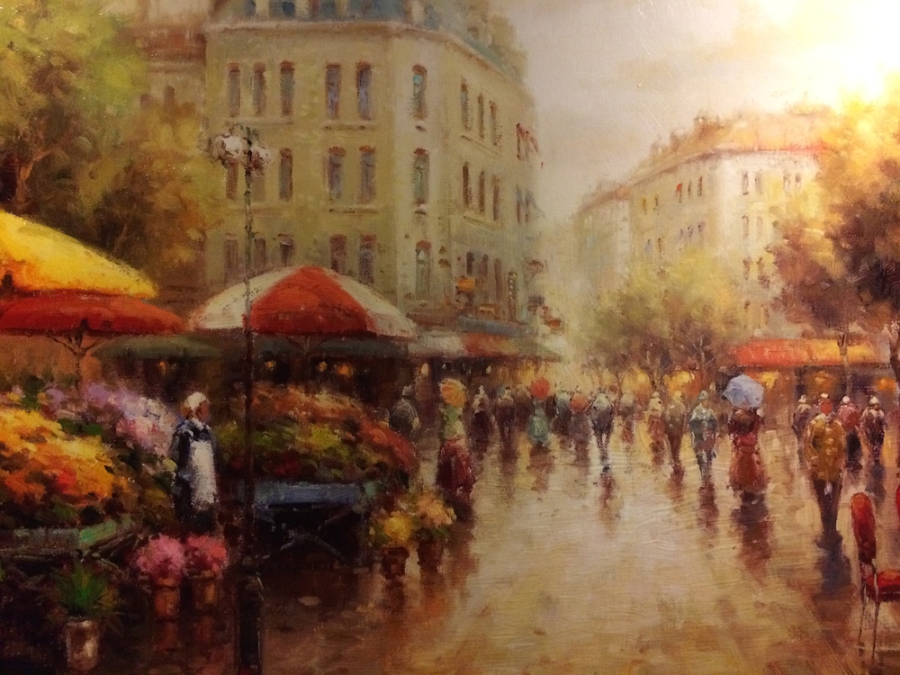 An oil painting of a European street scene (artist unknown).