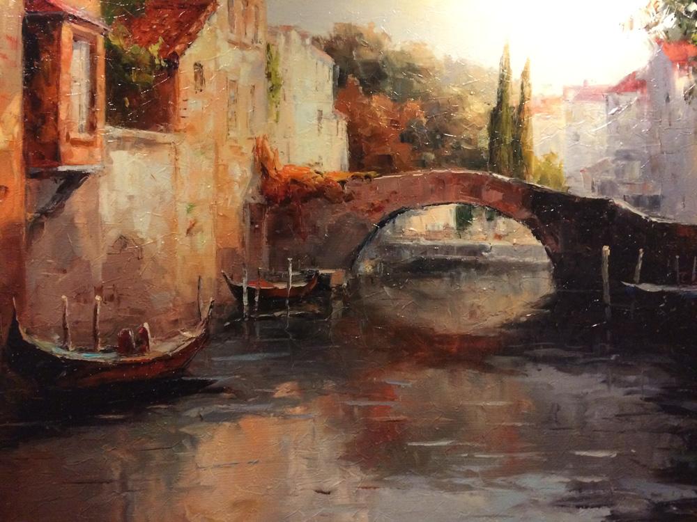 Venice scene. Oil on canvas, artist unknown.