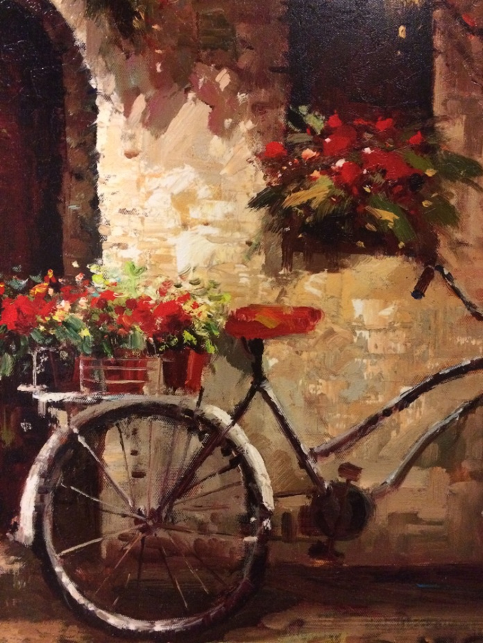 Bicycle leaning against building. Oil on canvas, artist unknown.