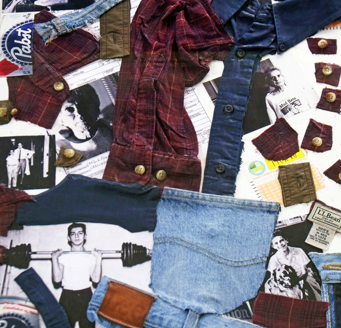 Fabric of my Father, a collage I made comprised of objects from his life. Photo by Francis DiClemente.